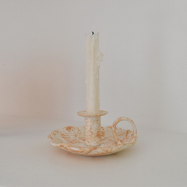 SPONGEWARE HANDLE CANDLE HOLDER - SANDY ORANGE